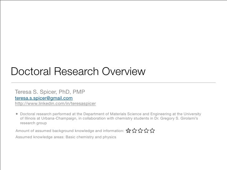 Doctoral Research Overview Teresa S. Spicer, PhD, PMP teresa.s.spicer@gmail.com http://www.linkedin.com/in/teresaspicer  •...