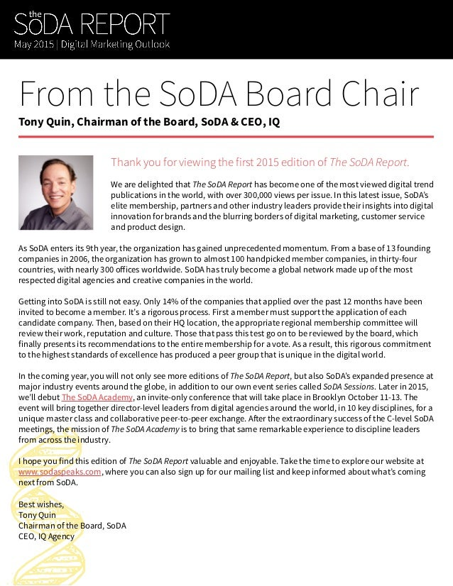The SoDA Report (Volume 1, 2015) Slide 2