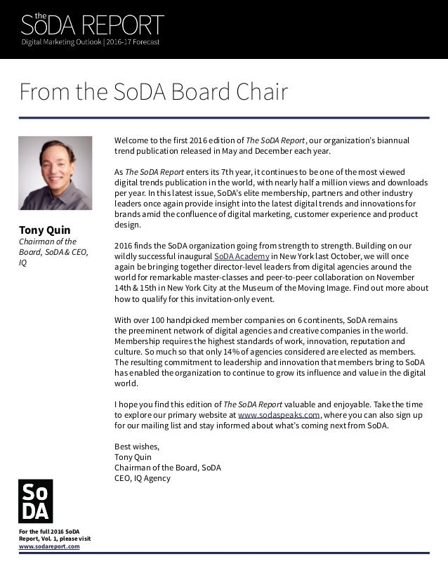 Note from the Editor-in-Chief Chris Buettner Editor-in-Chief and Executive Director, SoDA Welcome to the latest edition of...