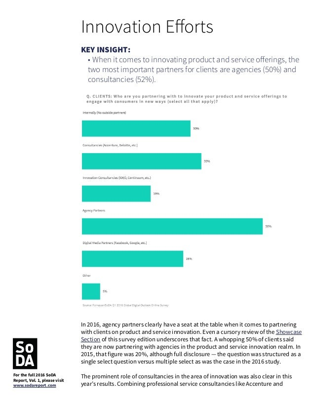 Deloitte (33%) with innovation consultancies like IDEO (19%), we find that 52% of clients are working with consultants on ...