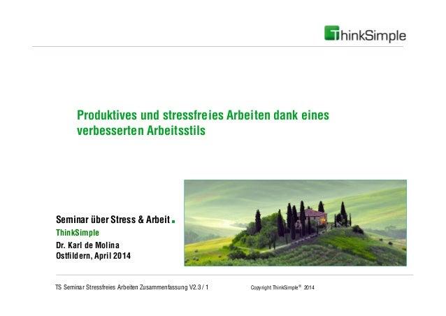 TS Seminar Stressfreies Arbeiten Zusammenfassung V2.3 / 1 Copyright ThinkSimple® 2014 Unternehmenskonzept Seminar über Str...
