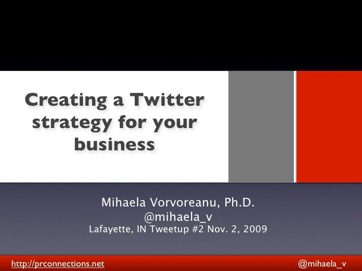 Creating a Twitter     strategy for your                   Text         business                         Mihaela Vorvorean...