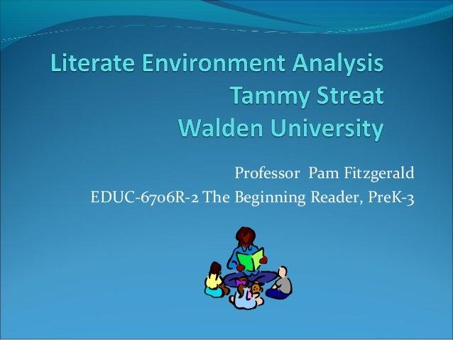 Professor Pam Fitzgerald EDUC-6706R-2 The Beginning Reader, PreK-3