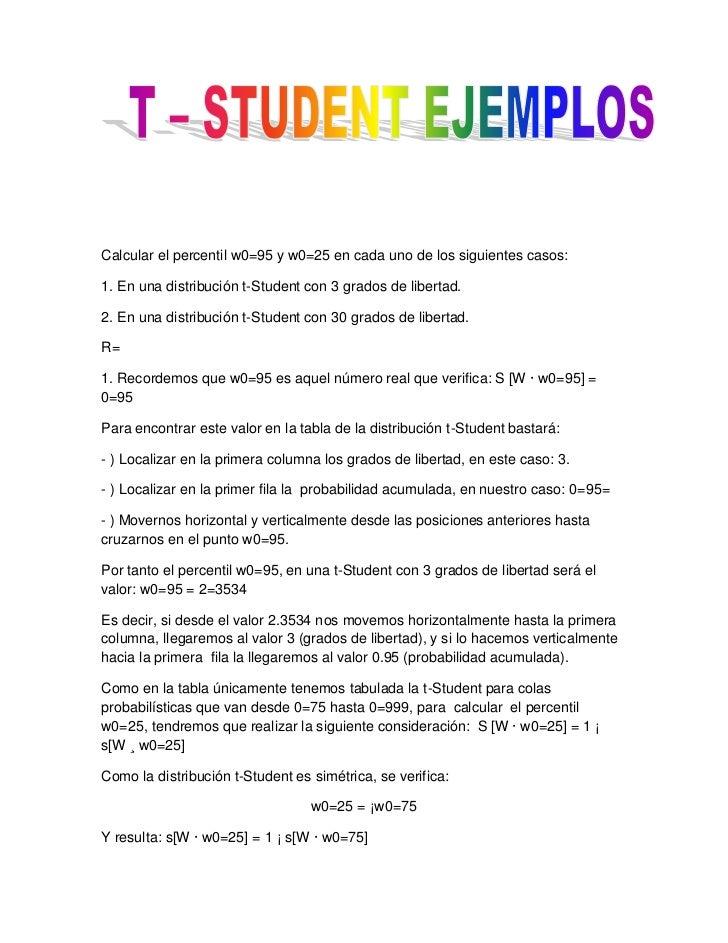 Calcular el percentil w0=95 y w0=25 en cada uno de los siguientes casos:1. En una distribución t-Student con 3 grados de l...