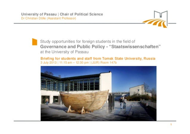 "Study opportunities for foreign students in the field of Governance and Public Policy - ""Staatswissenschaften"" at the Univ..."