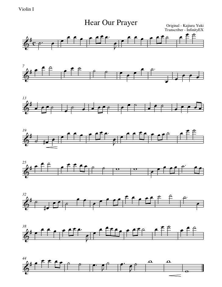 Sheet Music: Tsubasa Chronicle - Hear our prayer (violin 1)