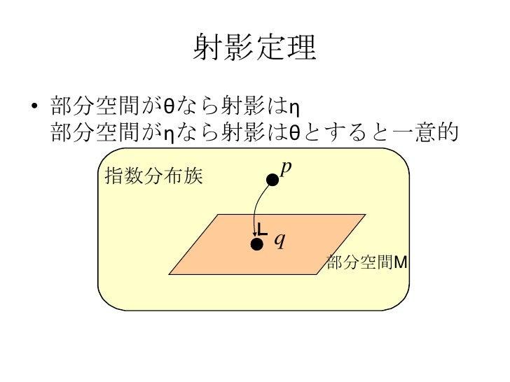 世の中は指数分布族である<br />指数分布族とは...の形に書ける分布モデル<br />離散分布も... θ=(q1,q2)<br />