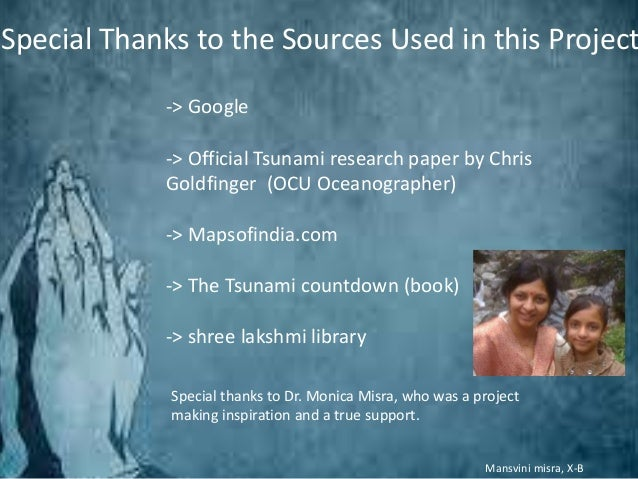 tsunami research paper Using an example, outline the effects of a tsunami and how the hazard in their paper professor mccloskey and split up  more scientific research in.