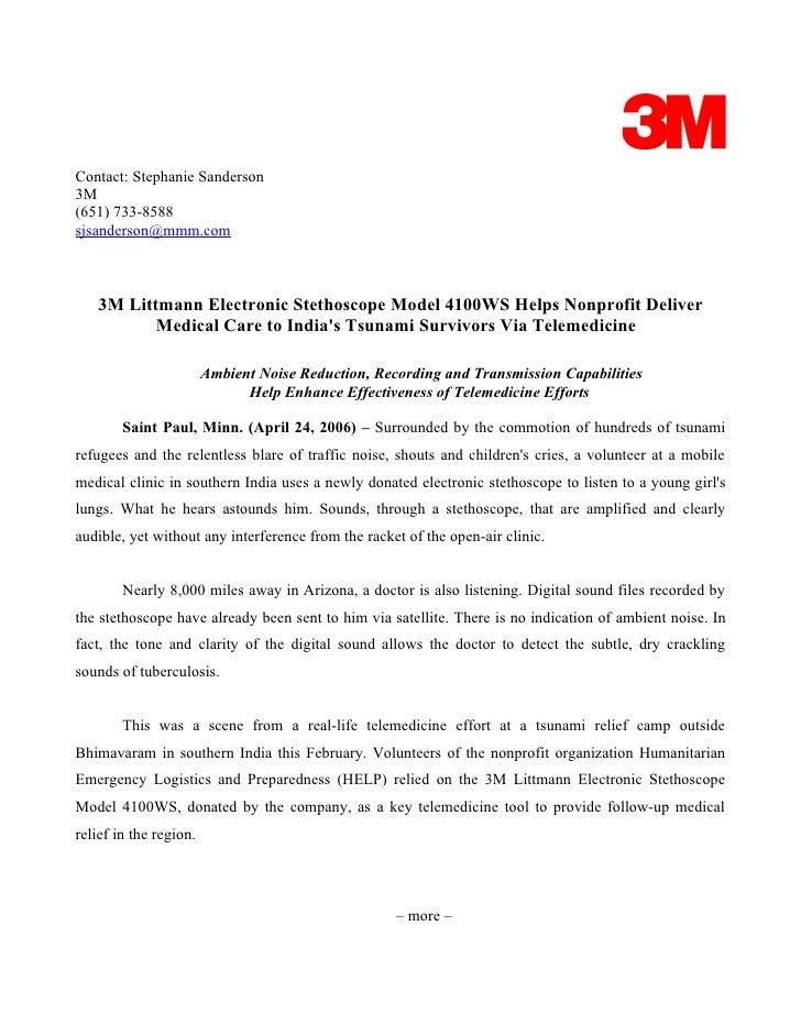 Contact: Stephanie Sanderson 3M (651) 733-8588 sjsanderson@mmm.com       3M Littmann Electronic Stethoscope Model 4100WS H...