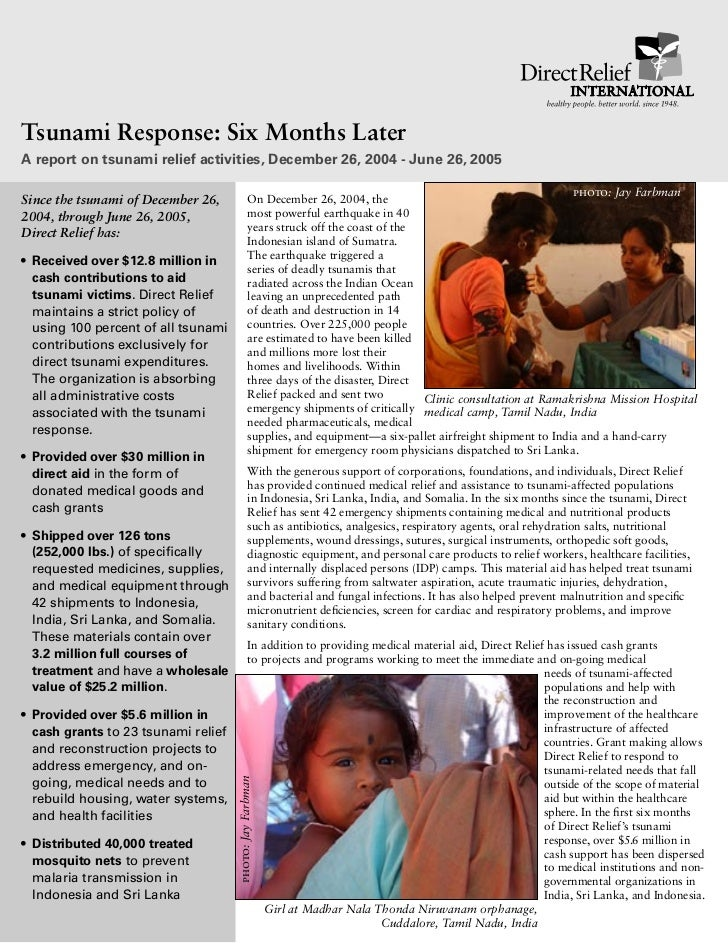 Tsunami Response: Six Months LaterA report on tsunami relief activities, December 26, 2004 - June 26, 2005                ...
