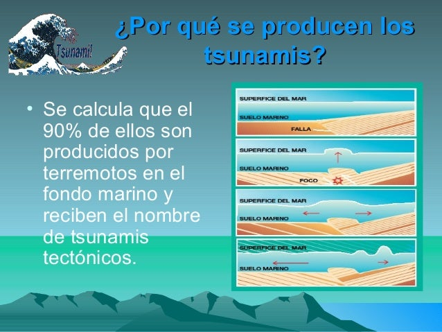 ¿Por qué se producen los¿Por qué se producen lostsunamis?tsunamis?• Se calcula que el90% de ellos sonproducidos porterremo...