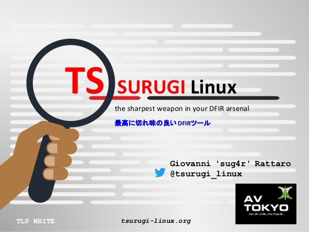 TS SURUGI Linux the sharpest weapon in your DFIR arsenal 最高に切れ味の良いDFIRツール TLP WHITE tsurugi-linux.org Giovanni 'sug4r' Rat...