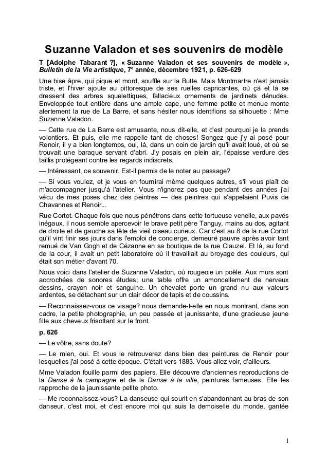 Suzanne Valadon et ses souvenirs de modèle T [Adolphe Tabarant ?], « Suzanne Valadon et ses souvenirs de modèle », Bulleti...