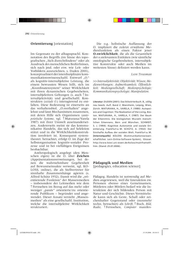 292 Orientierung              Orientierung [orientation]                        Die o.g. holistische Auffassung der       ...