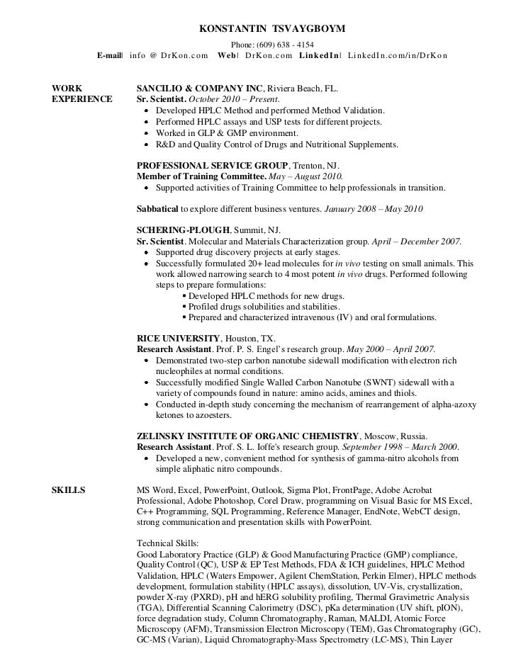 Resume for phd in organic chemistry