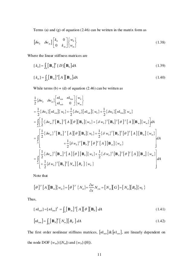 11 Terms (a) and (g) of equation (2.46) can be written in the matrix form as               m b m b mb w w k ...