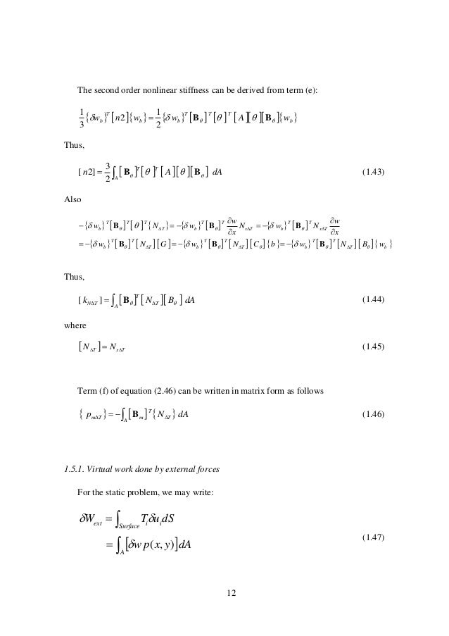 12 The second order nonlinear stiffness can be derived from term (e):                b TTT bb T b wAww...