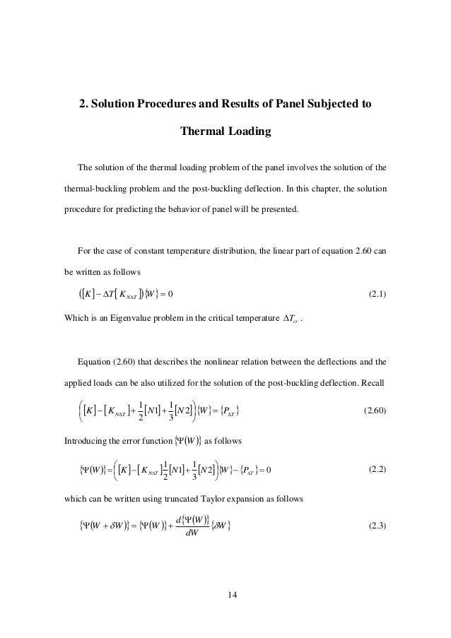 14 2. Solution Procedures and Results of Panel Subjected to Thermal Loading The solution of the thermal loading problem of...