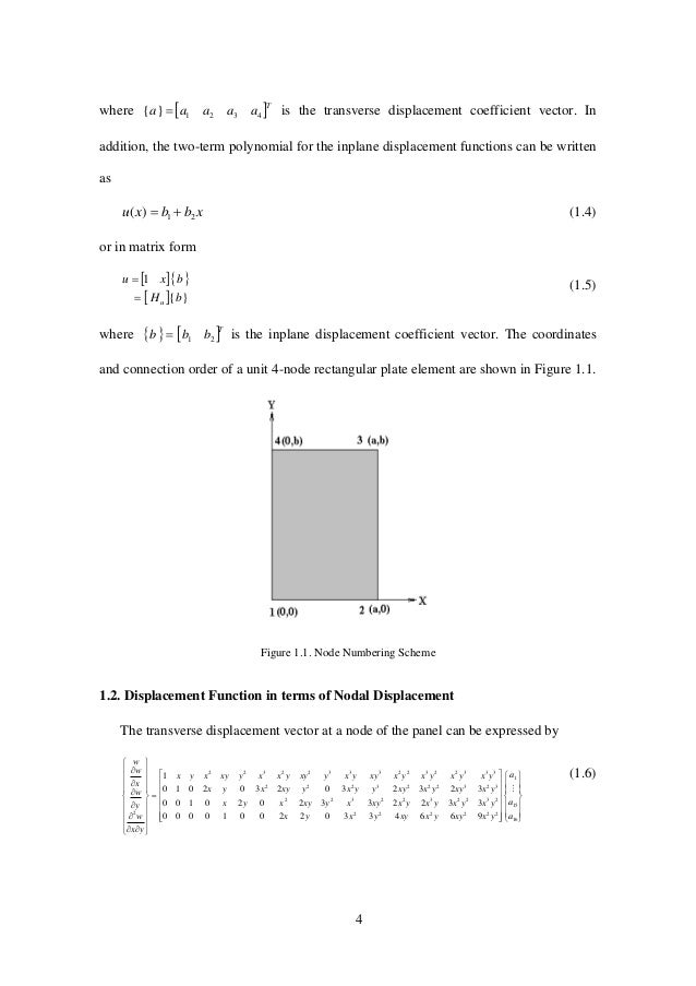 4 where  T aaaaa 4321}{  is the transverse displacement coefficient vector. In addition, the two-term polynomial for th...