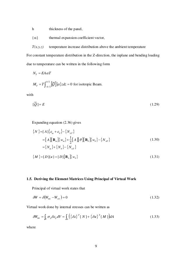 9 h thickness of the panel, {} thermal expansion coefficient vector, T(x,y,z) temperature increase distribution above the...