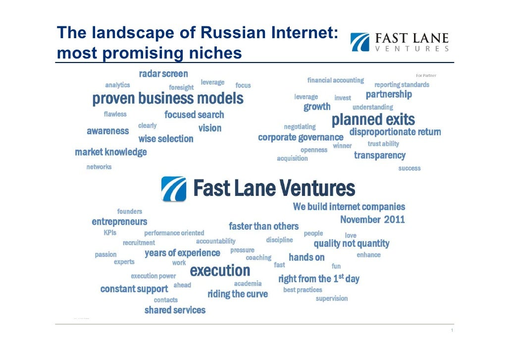 The landscape of Russian Internet:most promising niches                                     1