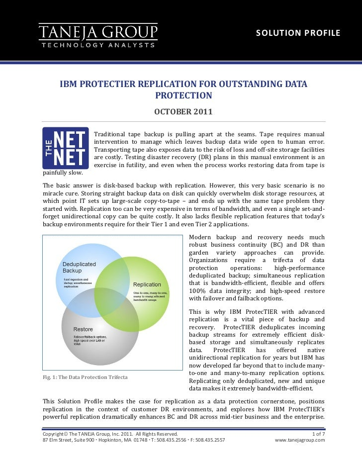 SOLUTION PROFILE       IBM PROTECTIER REPLICATION FOR OUTSTANDING DATA                         PROTECTION                 ...