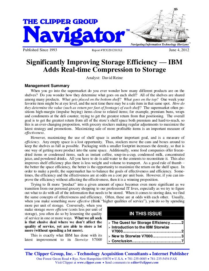 Significantly Improving Storage Efficiency - IBM Adds Real-time Compression to StorageTHE CLIPPER GROUPNavigator          ...