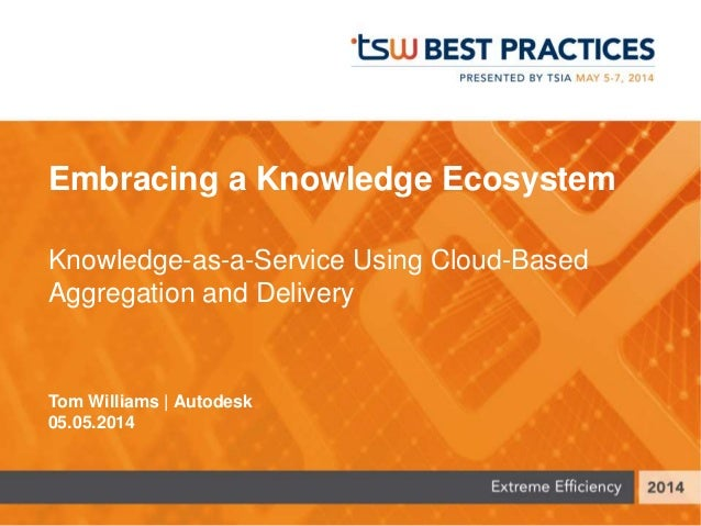 Embracing a Knowledge Ecosystem Knowledge-as-a-Service Using Cloud-Based Aggregation and Delivery Tom Williams | Autodesk ...