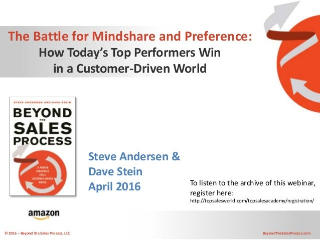 © 2016 – Beyond the Sales Process, LLC BeyondTheSalesProcess.com The Battle for Mindshare and Preference: How Today's Top ...