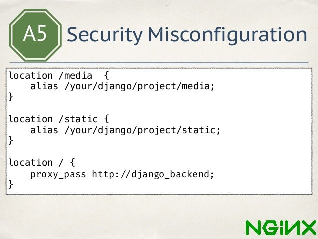 A5 Security Misconfiguration rewrite ^/(.*)/some$ /$1/ last; . . . location ~* ^/proxy/(?<p_proto>https?)/(?<p_host>.*?)/(...