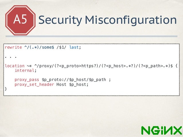 A5 Security Misconfiguration https: //your_site.com/proxy/https/evil.com/login/some https: //evil.com/login rewrite ^/(.*)...