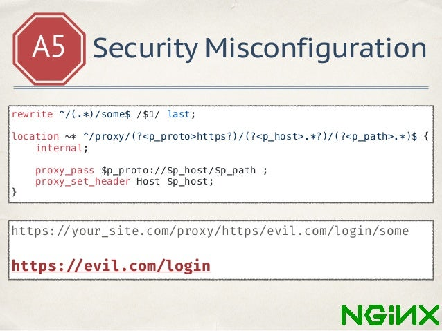 A5 Security Misconfiguration https: //github.com/yandex/gixy ✤ Server Side Request Forgery ✤ HTTP Splitting ✤ Problems wit...