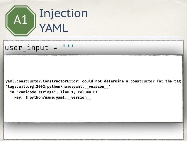 Injection Templates A1 from flask import render_template_string user = 'Admin' template = 'Hello, %s!' % user render_tem...