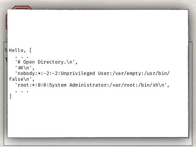 """Injection Templates A1 template = Template(""""Hello, {{ user }}."""") template.render( Context({""""user"""": """"Admin""""}) ) return ren..."""