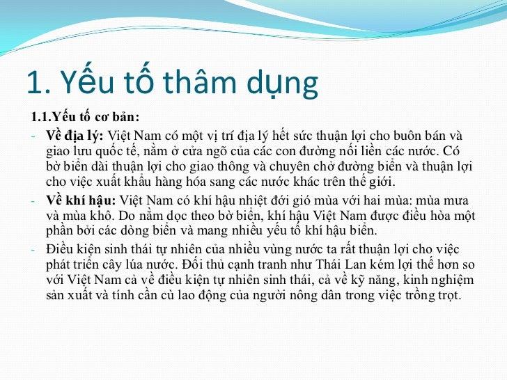 1. Yếu tố thâm dụng1.1.Yếu tố cơ bản:- Về địa lý: Việt Nam có một vị trí địa lý hết sức thuận lợi cho buôn bán và   giao l...