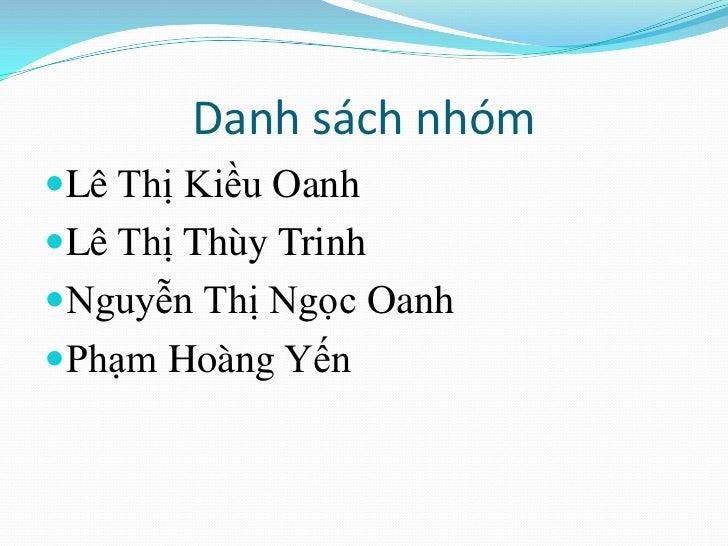 Danh sách nhómLê Thị Kiều OanhLê Thị Thùy TrinhNguyễn Thị Ngọc OanhPhạm Hoàng Yến