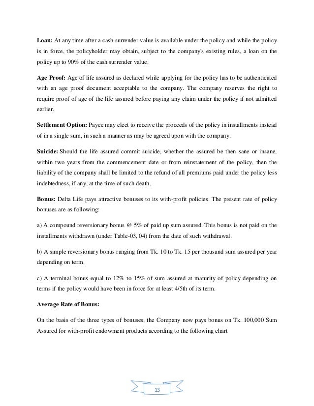 internship report on insurance company