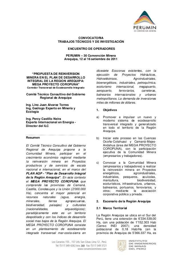 361CONVOCATORIATRABAJOS TÉCNICOS Y DE INVESTIGACIÓNENCUENTRO DE OPERADORESPERUMIN – 30 Convención MineraArequipa, 12 al 16...