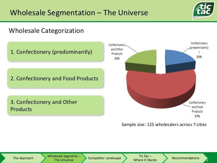 Sample size :  125 wholesalers across 7 cities Wholesale Segmentation – The Universe Wholesale Categorization 1. Confectio...