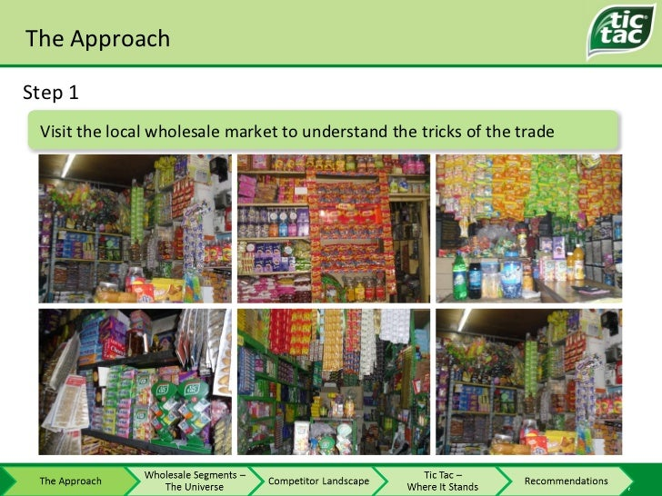The Approach Step 1 Visit the local wholesale market to understand the tricks of the trade