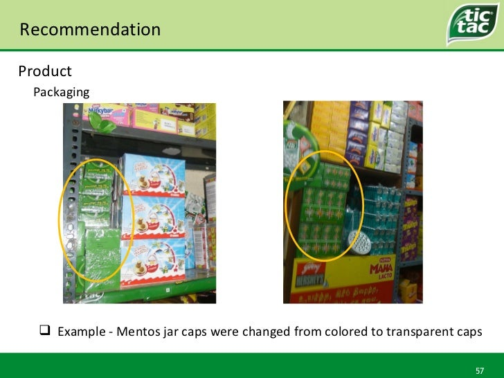 Recommendation Packaging Product <ul><li>Example - Mentos jar caps were changed from colored to transparent caps </li></ul>