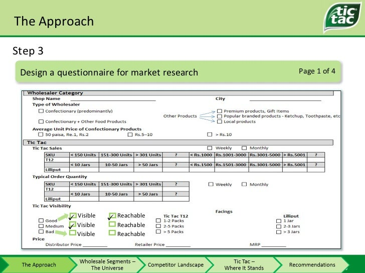 The Approach Step 3 Page 1 of 4 Design a questionnaire for market research Visible Reachable Visible Visible Reachable Rea...