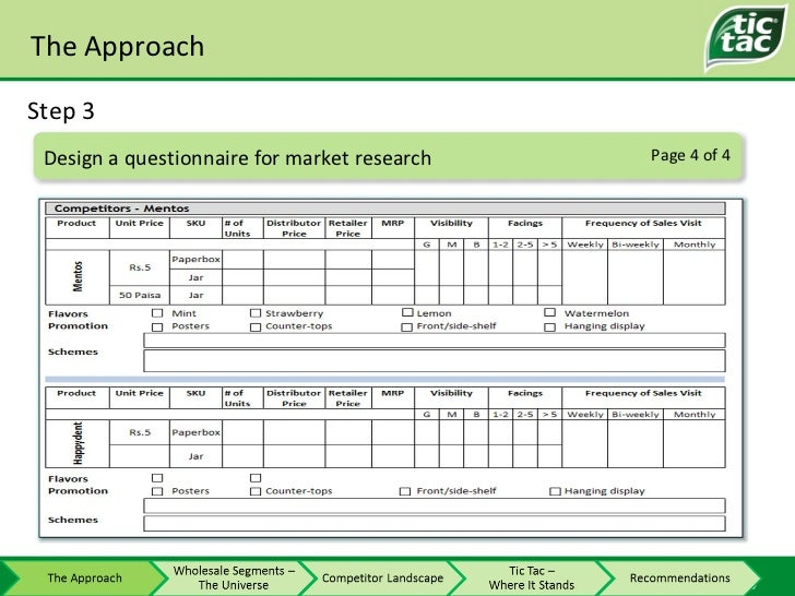 The Approach Step 3 Page 4 of 4 Design a questionnaire for market research