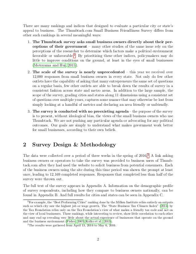 2016 Thumbtack Small Business Friendliness Survey: Methodology & Analysis Slide 3