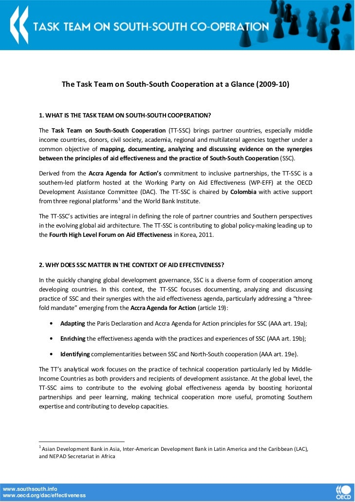 The Task Team on South-South Cooperation at a Glance (2009-10)             1. WHAT IS THE TASK TEAM ON SOUTH-SOUTH COOPERA...