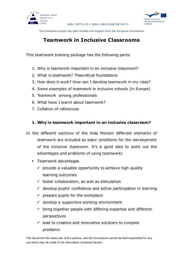 Effective Classroom Teamwork: Support or Intrusion?