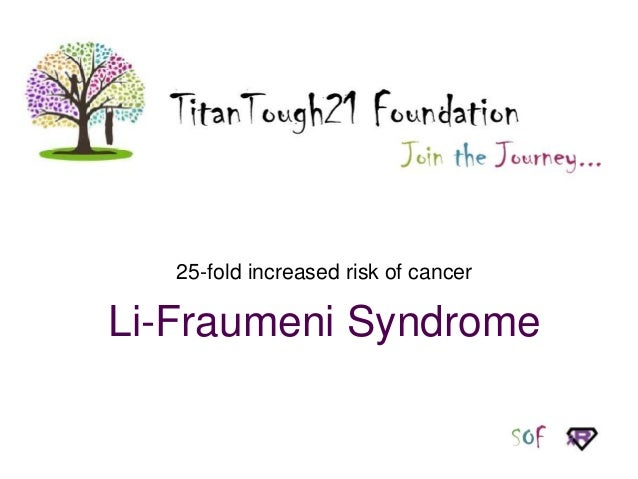 25-fold increased risk of cancer  Li-Fraumeni Syndrome