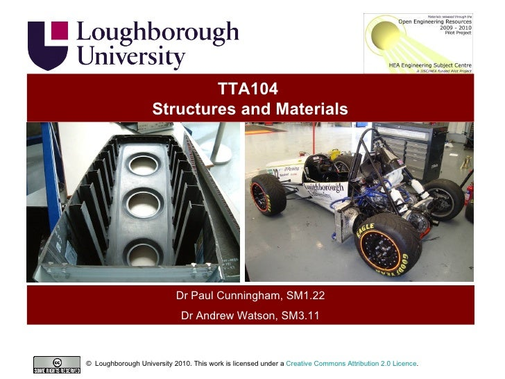 TTA104  Structures and Materials Dr Paul Cunningham, SM1.22 Dr Andrew Watson, SM3.11 ©  Loughborough University 2010. This...