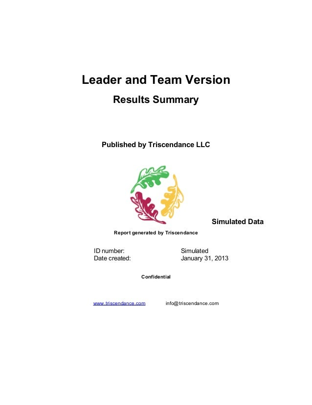 Leader and Team Version        Results Summary    Published by Triscendance LLC                                           ...